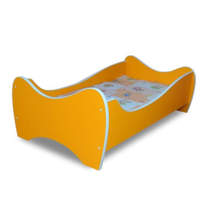 lit enfant orange sommier matelas 140x70 cm achat. Black Bedroom Furniture Sets. Home Design Ideas