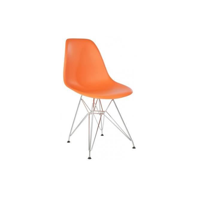 Chaise design dsr orange inspir e eames achat vente chaise cdiscount - Cdiscount chaise design ...