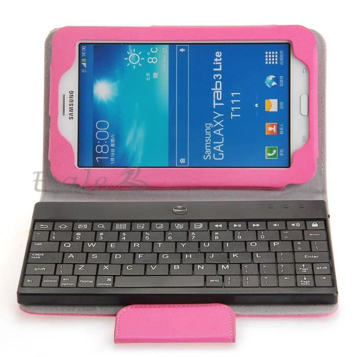 clavier bluetooth v3 0 etui pochette coque rose pour. Black Bedroom Furniture Sets. Home Design Ideas