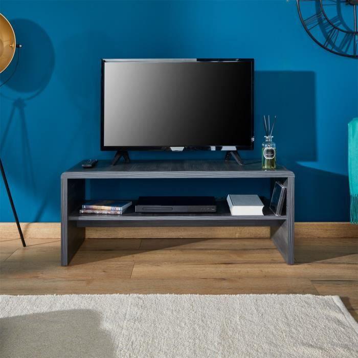 IDIMEX Table Basse Noelle Table de Salon rectangulaire ou Meuble TV de 120 cm avec 1 /étag/ère Espace de Rangement Ouvert en m/élamin/é d/écor b/éton et Blanc Mat