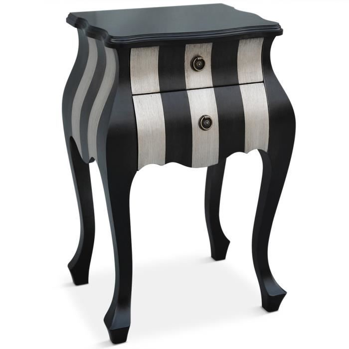 table de chevet 2 tiroirs classica noir argent achat. Black Bedroom Furniture Sets. Home Design Ideas