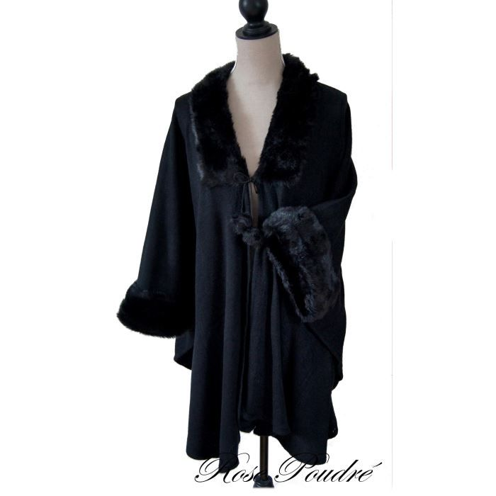 manteau cape poncho femme gris ou noir fourrure noir achat vente manteau caban soldes. Black Bedroom Furniture Sets. Home Design Ideas