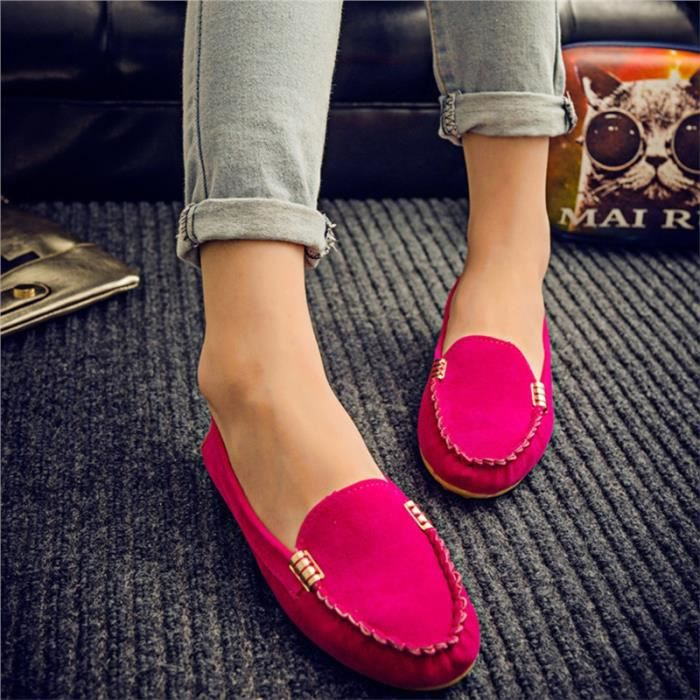 Fitibest Slip On Flats Chaussures élégantes pour femmes, Red Rose