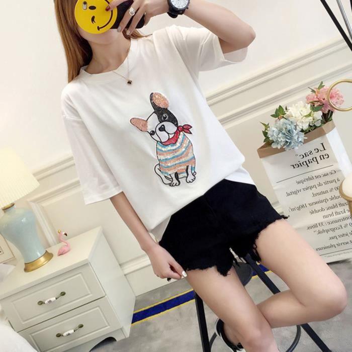 T Shirt En Coton Femmes Dété Dessin Animé Chien Fille
