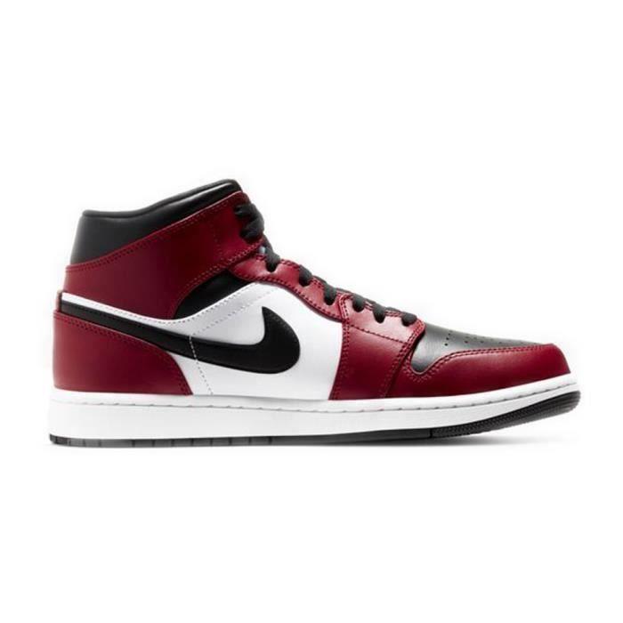 Basket Jordans 1 Mid Jordans one AJ 1 pour Homme et Femme Rouge ...