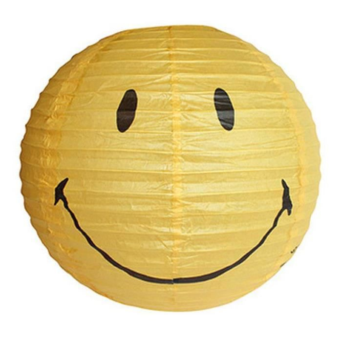 suspension boule en papier de riz smiley jaune achat vente suspension boule en papie. Black Bedroom Furniture Sets. Home Design Ideas