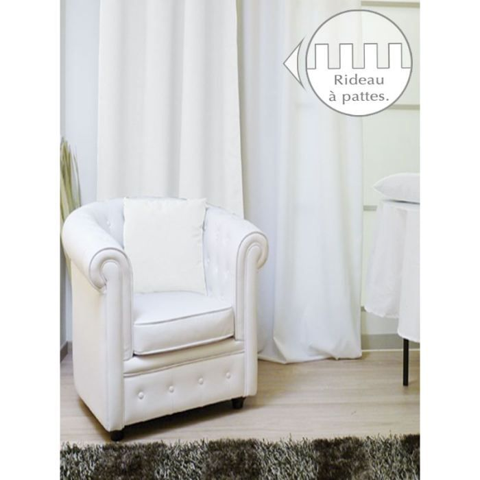 rideau a pattes 140x250 alix blanc achat vente rideau. Black Bedroom Furniture Sets. Home Design Ideas