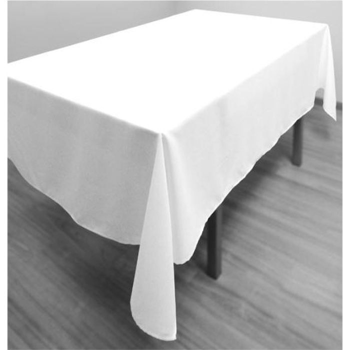 nappe antitache rectangle 140x300 cm alix blanche achat vente nappe de table cdiscount. Black Bedroom Furniture Sets. Home Design Ideas