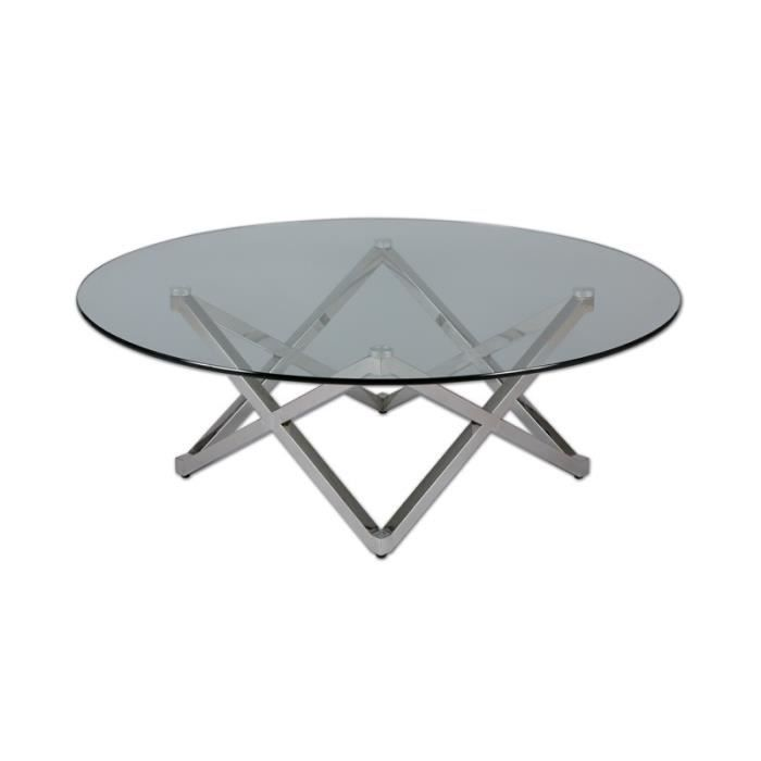 TABLE BASSE Table basse Ronde Inox/Verre - BRIGHT - L 105 x l