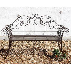 Banc de jardin Marron Bank FORGE FER 146 cm métal 111183 2 Banc Banc
