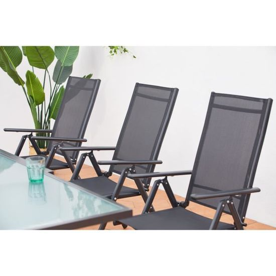 Breshia 6 : Salon de jardin en aluminium et textilène