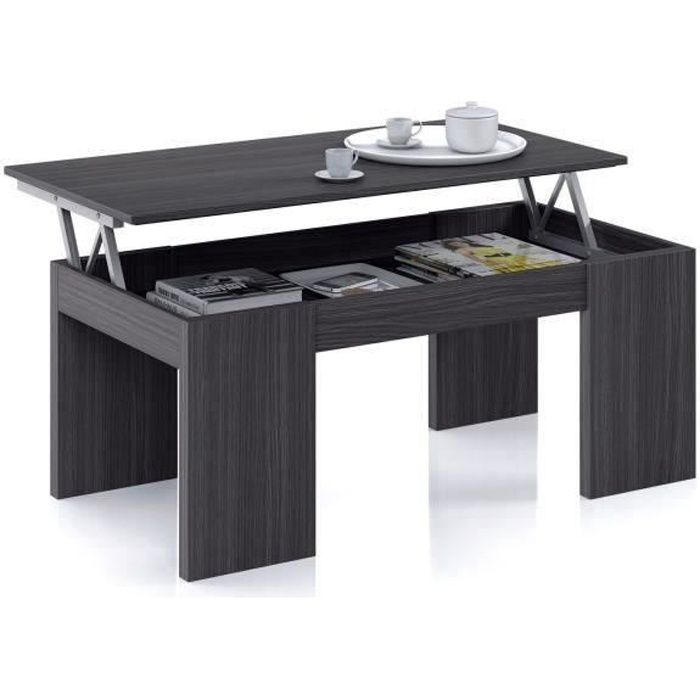 KENDRA table basse grise transformable, plateau relevable