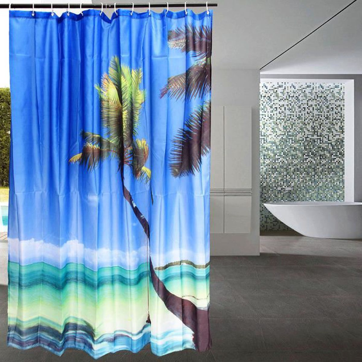 3d salle de bain rideau douche plage mer arbre paysage 12 crochet 180x180cm achat vente. Black Bedroom Furniture Sets. Home Design Ideas