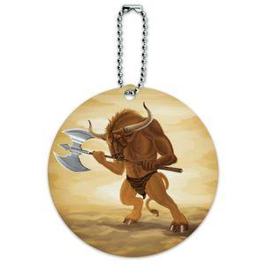 BRACELET DE MONTRE Men's Minotaur Fantasy War Axe Round ID Card Lugga