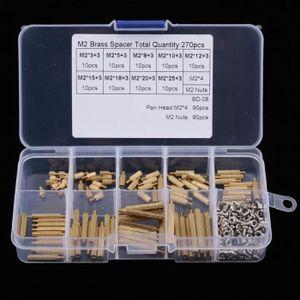 270pcs M2 Entretoise en Laiton Entretoise Molet/ée M/âle-Femelle Kit dAssortiment avec M2 /Écrous et M2 Vis pour Circuit Imprim/é