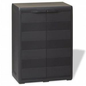 COFFRE - MALLE Armoire/coffre de jardin en plastique noir 65x38x8