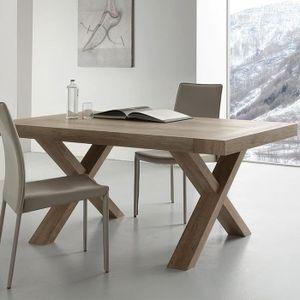 TABLE À MANGER SEULE Table extensible contemporaine couleur bois LENA 2
