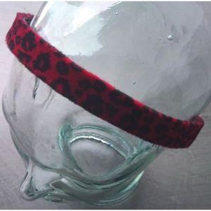 BANDEAU - SERRE-TÊTE serre tete tissus leopard rouge noir femme cheveux
