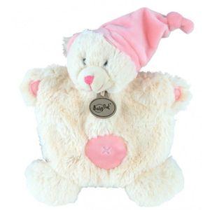 DOUDOU Babynat Doudou semi plat Ours blanc et rose bonnet