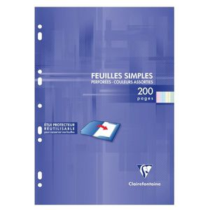FEUILLET MOBILE CLAIREFONTAINE - Feuilles simples couleurs - 4 col