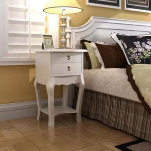 CHEVET Table de chevet avec 2 tiroirs ContemporainTable