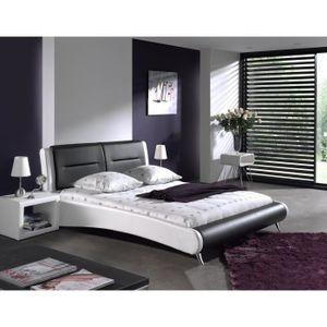 STRUCTURE DE LIT Lit design ELODIE noir et blanc + sommier 160x200