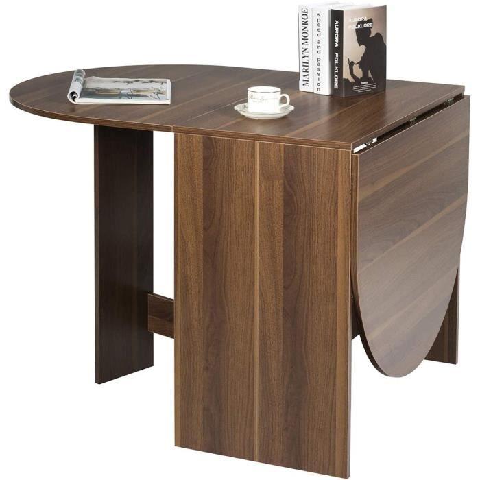 COSTWAY Table de Cuisine Salle à Manger Pliable 163x80x75CM Multifonctionelle en Bois Plateau Rond Ovale , Famille de 6 Personnes