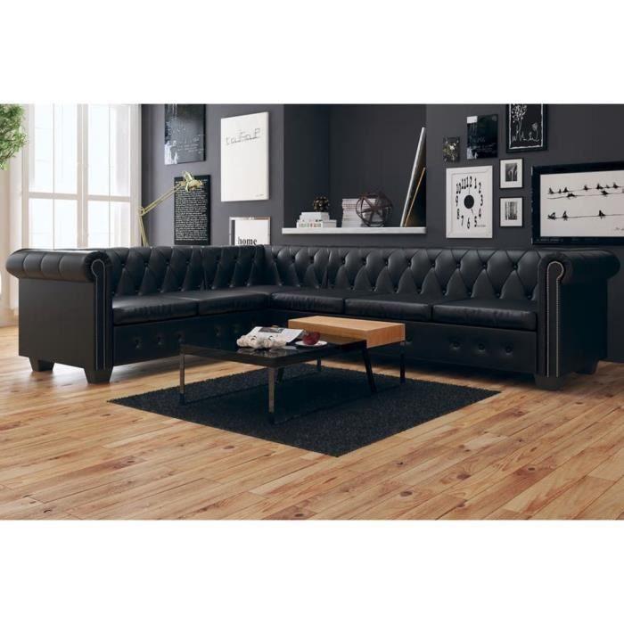 Canapé d'angle 6 places Noir Cuir Chesterfield