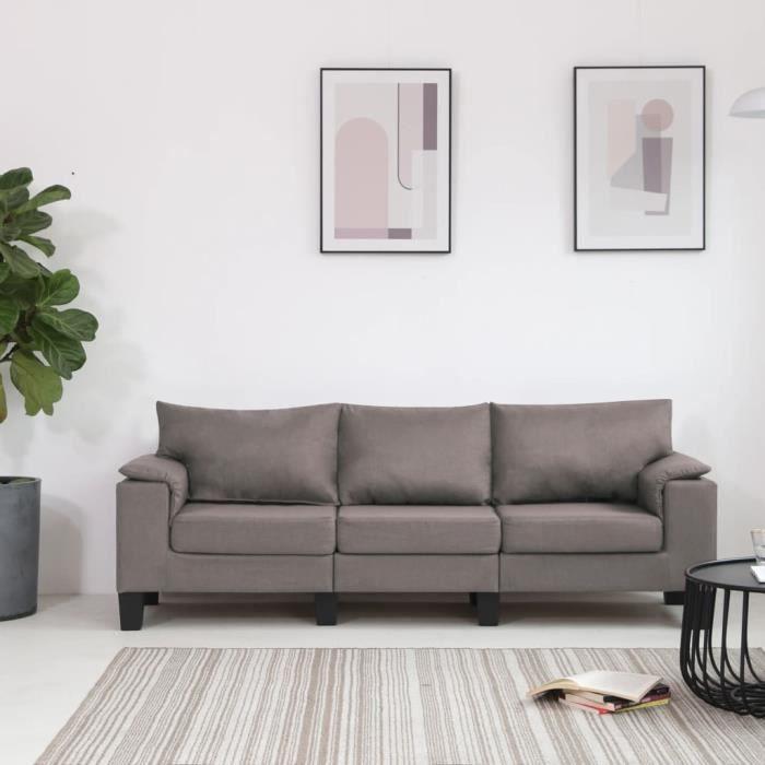 MOB-7837Magnifique Moderne Canapé droit fixe 3 places Canapé de relaxation Confortable & Professionnel - clic clac Sofa Taupe Tissu