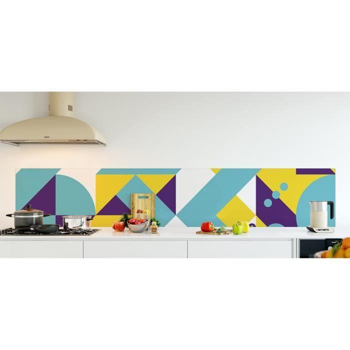 Crédence de cuisine adhésive en Verre de synthèse -Composition géométrique jaune, turquoise et violet style scandinave- L. 270 x...