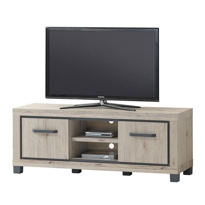 Meuble télévision 110 cm couleur chêne naturel et gris ELORANE L 110 x P 45 x H 58 cm Beige