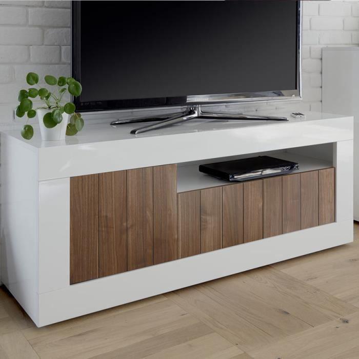 Meuble télé moderne couleur noyer et blanc laqué MABEL 4 L 140 x P 42 x H 56 cm Marron