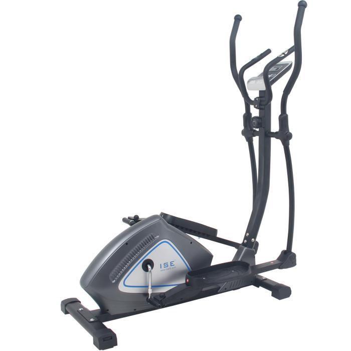 ISE Vélo elliptique magnétique crosstrainer - écran LCD - Pouls à la main - Masse d'inertie 12kg - 8 Niveaux de Résistance