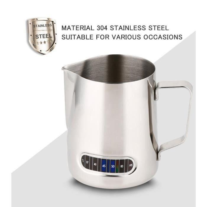 LR Pichet à café en acier inoxydable, Pichet à lait à café en acier inoxydable de 600 ml avec thermomètre (bleu)-CHE - LRCYD821A2267