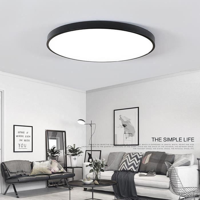NEUFU Plafonnier LED Pour Lampe Vivante Salle de Bain Cuisine Lumière blanche 24W Noir