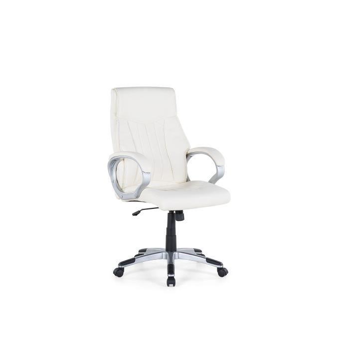 Beliani - Chaise de bureau en simili-cuir blanc cassé TRIUMPH