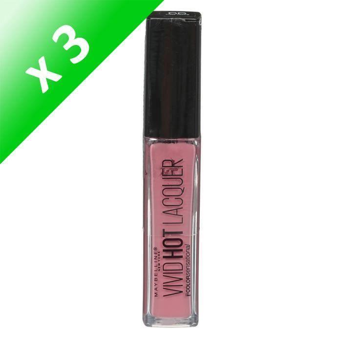 MAYBELLINE Rouge à lèvres Liquide Couleur Sensationnel Vivid Hot Lacqué Ombre 66 Trop Mignon Nu (Lot de 3)