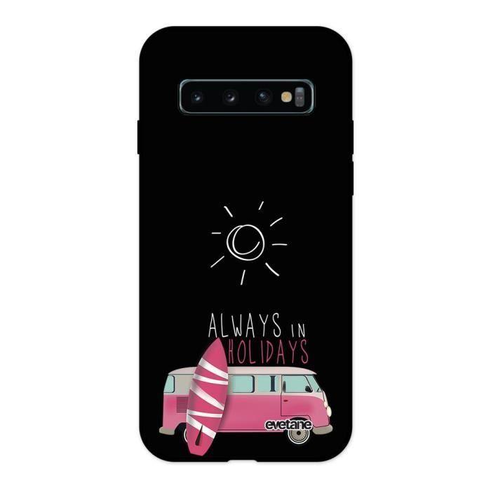 Coque Samsung Galaxy S10 Plus Silicone Liquide Douce noir Always in holidays Ecriture Tendance et Design Evetane