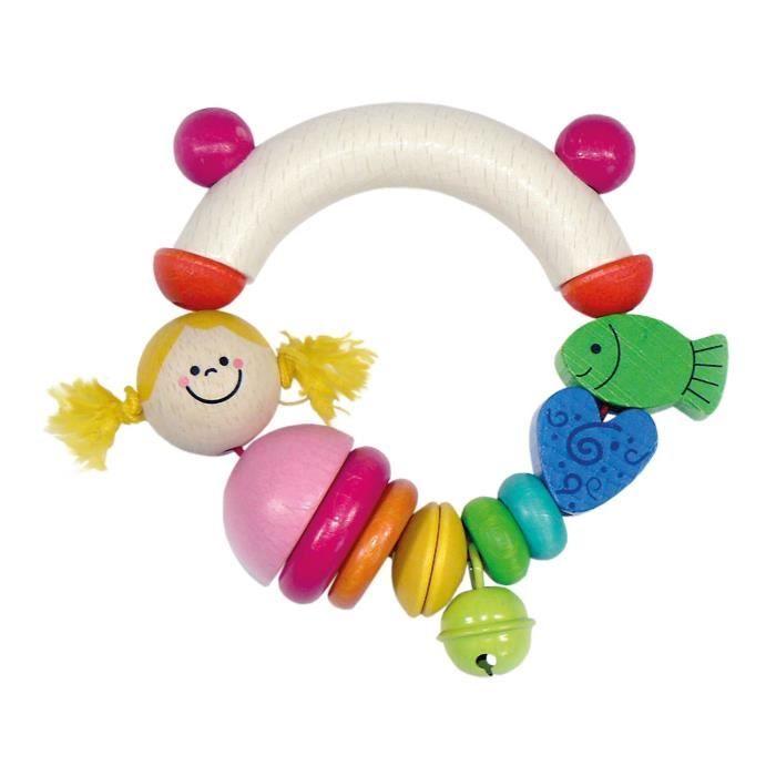 Hess Spielzeug Le Hochet Motricité En Bois Nixe Hochet Bébé, Multicolore UDCR9