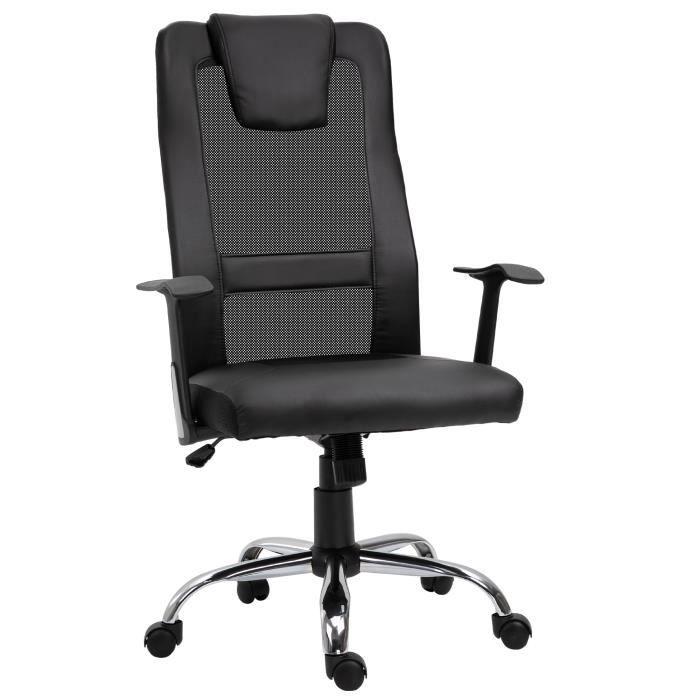 Fauteuil de bureau manager grand confort dossier ergonomique à bascule têtière hauteur assise et accoudoirs réglable nylon simili