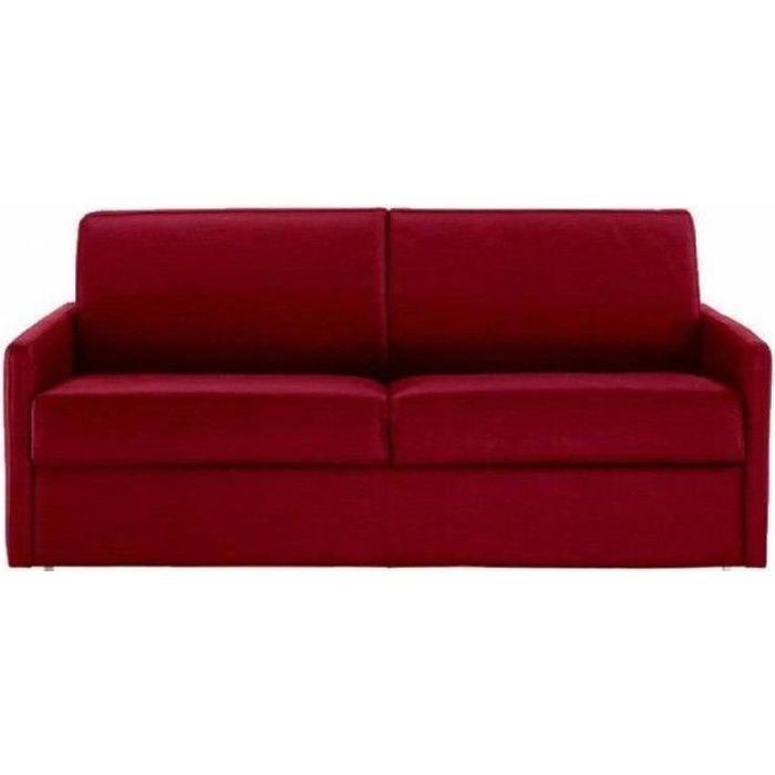 Canapé lit 3 places SUN convertible EXPRESS 140cm tweed rouge matelas épaisseur 16cm rouge Tissu Inside75