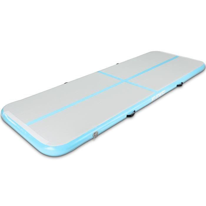 KUOKEL Tapis de gymnastique gonflable ou tapis polyvalent d'exercice bleu clair avec le pompe de gonfleur électrique