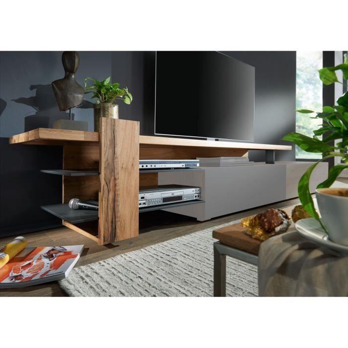 Rehausse de meuble TV - Bois massif de chêne lombard huilé (Bois naturel) - FRANKFURT #111