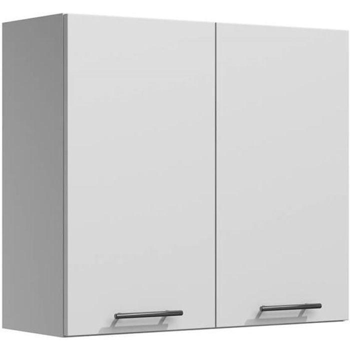 LILA - Meuble de cuisine haut 80 cm 2 portes blanc