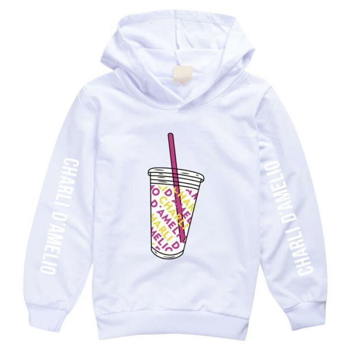 Hiver enfants chandail manches longues tasse de boisson imprimé à capuche Blanc CHANDAIL 10070201