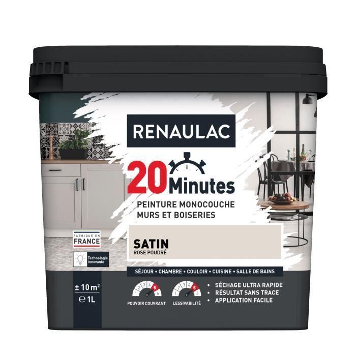 RENAULAC Peinture intérieur monocouche 20 Minutes murs et boiseries - 1L - 10 m² - Rose poudré Satin