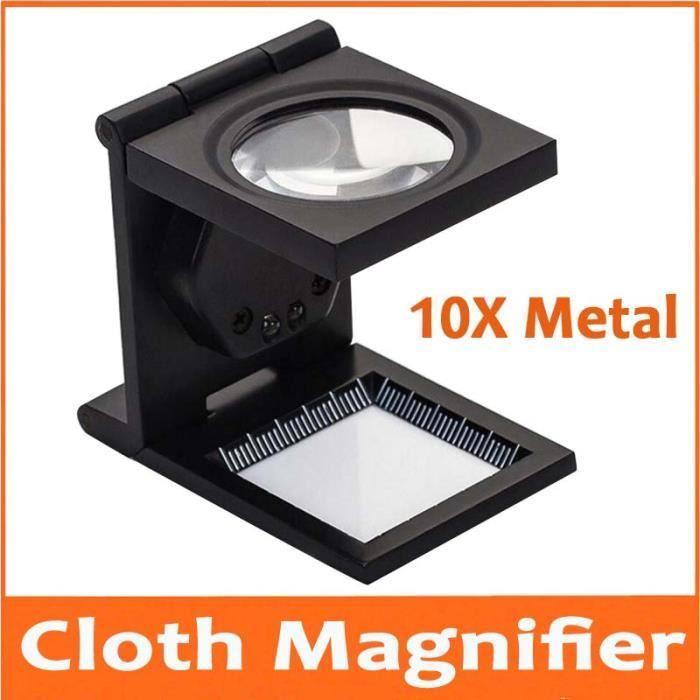 10X 28mm LED Lumineux Pliable En Métal Loupe En Tissu Loupe Stand Tissu Mesure Loupe Avec Lampes et Échelle 1mm