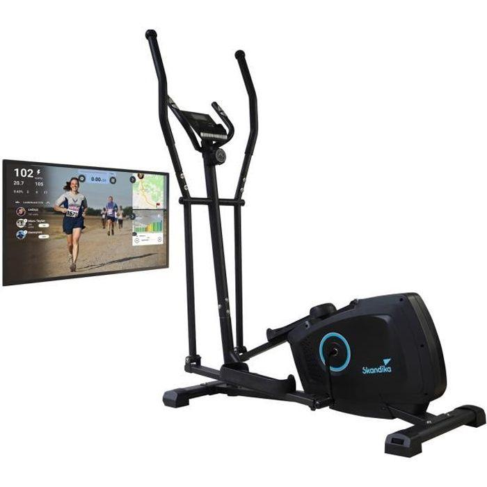 Skandika Vidar - Vélo elliptique - Bluetooth - Compatible avec Kinomap - Support Tablette - Inertie 7 kg- Max. 120 kg - Noir/Bleu