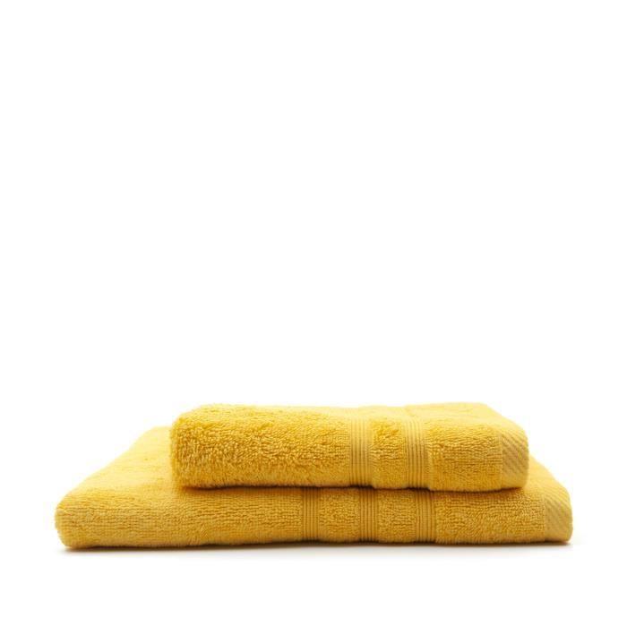 TODAY Lot de 1 Serviette de bain 50 x 100 cm + 1 Drap de bain 70 x 130 cm Safran - 100% coton TODAY