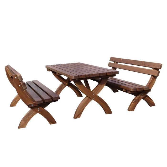 Ensemble Salon De Jardin 3 Pi Ces Table Bancs 180cm Pin
